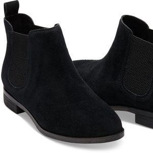 Toms Black Suede Ella Ankle Booties